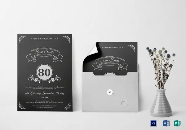 26 80th birthday invitation templates