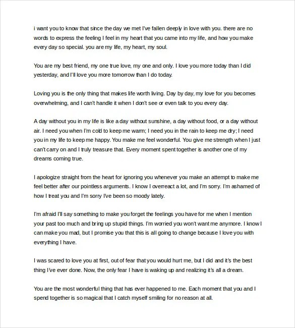 Love Letter Example Sample Love Letters Sample Apologuy Letter To – Apology Love Letter