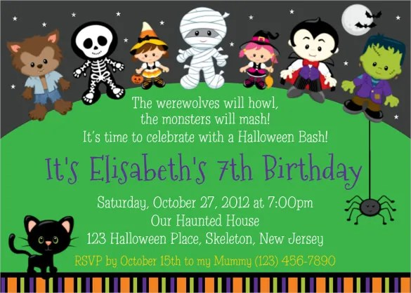 halloween birthday invitation templates