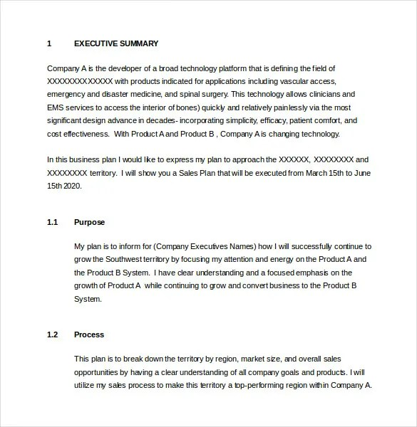 Doc468546 Sales Plan Outline Sales Plan Outline Sample This – Sales Territory Business Plan