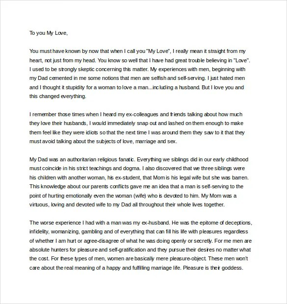 Free sample love letters to wife love letter to boyfriend free love letter example free sample personal letter templates free spiritdancerdesigns Image collections