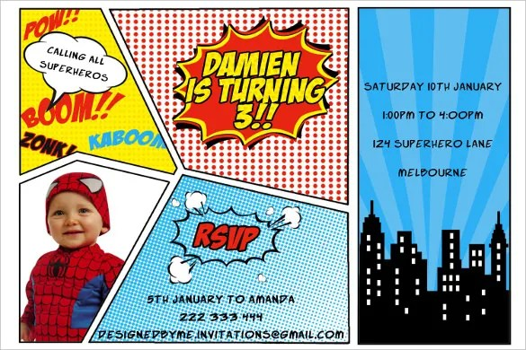 superhero birthday invitation templates
