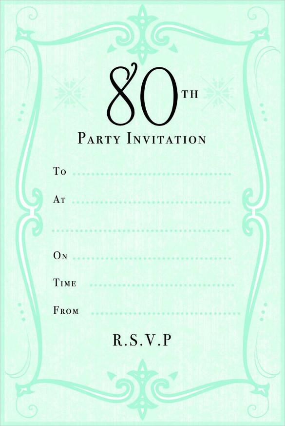 Green 80th Birthday Party Invitation