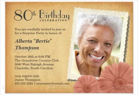Th Birthday Invitation Cards PaperInvite - 80th birthday invitation templates free