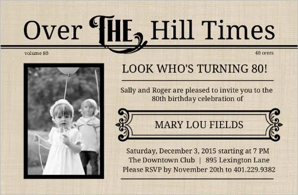 22 80th Birthday Invitation Templates Free Sample Example