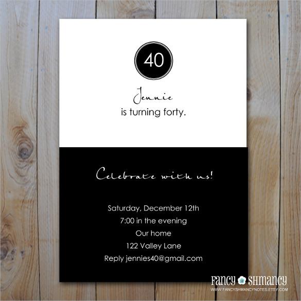 Free Printable 40th Invitations
