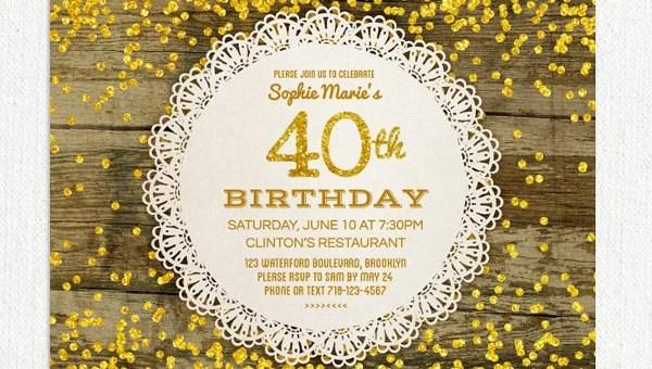 26 40th birthday invitation templates