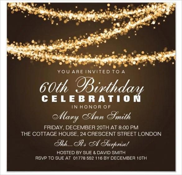 Elegant Gold String Lights 60th Birthday Invitations