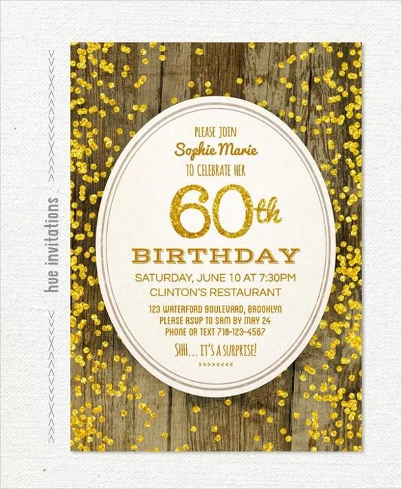 Woodgrain Gold Glitter 60th Birthday Invitation Pdf Printable File