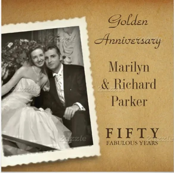 Vine 50th Anniversary Photo Square Invitations