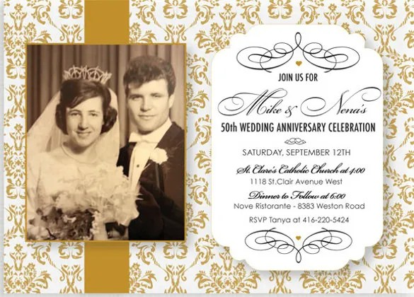 Wedding Anniversary Party Invitations One Photo