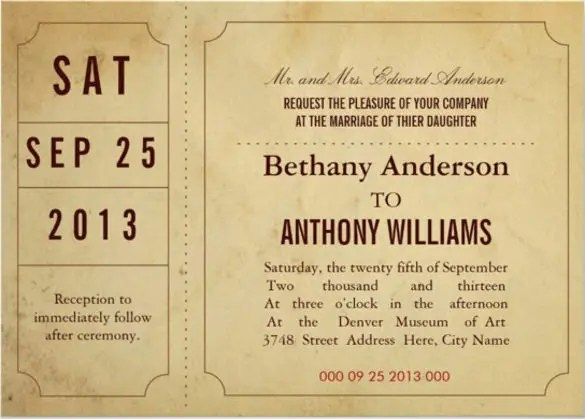 Vine Ticket Wedding Invitation