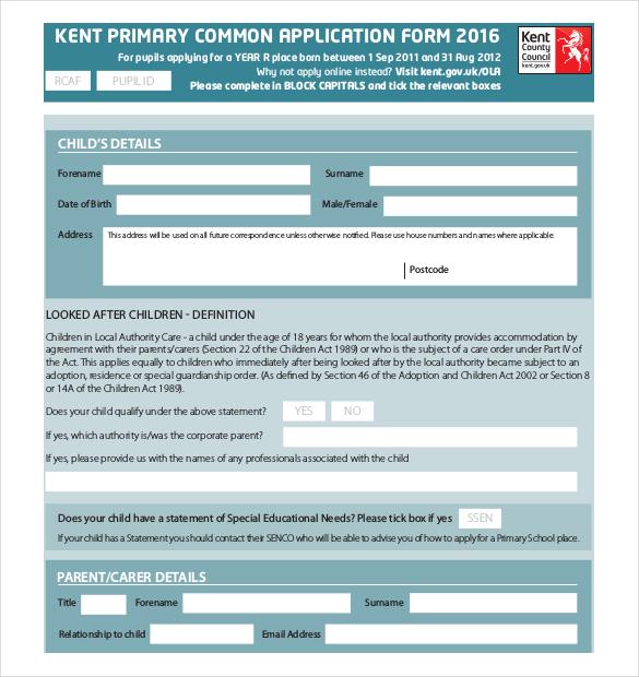 Application letter kent – School Admission Form Sample