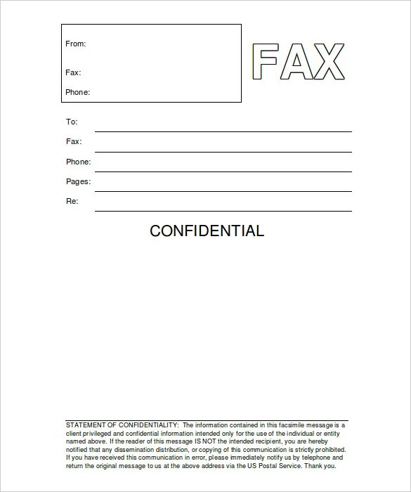 10 Business Fax Cover Sheet Templates Sle Exle