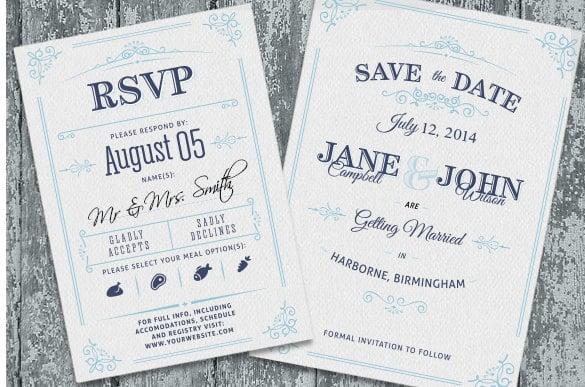 Vine Wedding Invitation Rsvp Psd Format