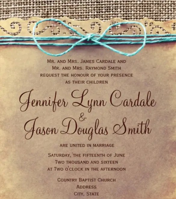 Rustic Country Vine Wedding Invitations Psd Format