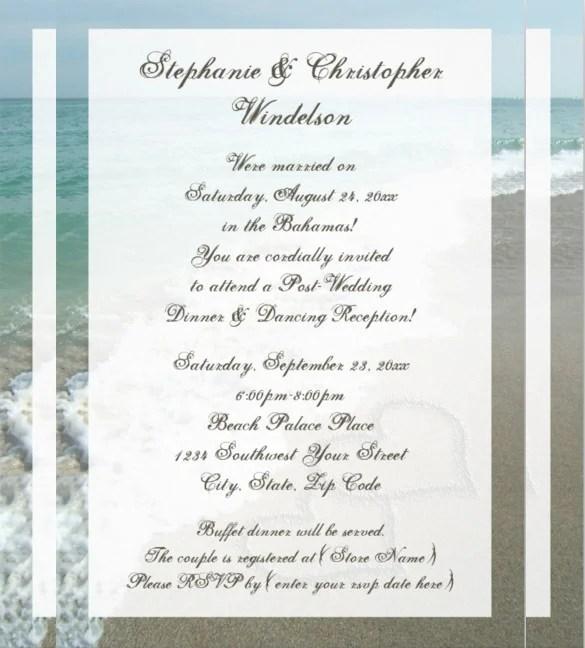 Beach Hearts Wedding Invitation Template