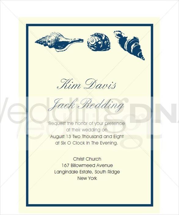 Seas Beach Wedding Invitation Template