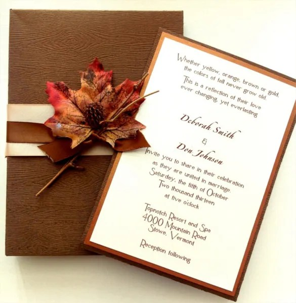 Elegant Wood Grain Fall Wedding Invitation Template