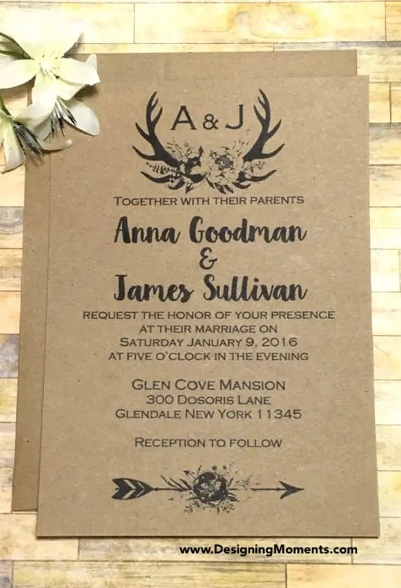 Rustic Country Wedding Invitation Psd Format