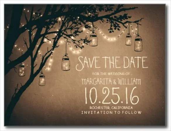 Ah Mason Jar Lights Have Bee Quite Por Wedding Decorations Now Especially Since They Look So Amazing This Save The Date Template Would Be
