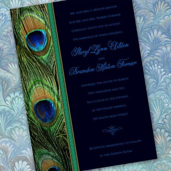 Aqua Emerald Letterpress Wedding Invitation