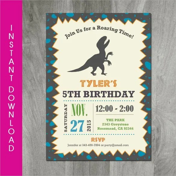 dinosaur birthday invitation designs