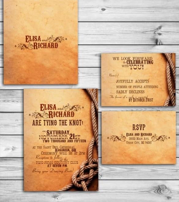 Free Printable Western Wedding Greeting Card Template