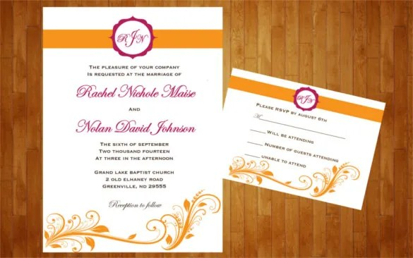 Colors Customized For Wedding Reception Invitation Template