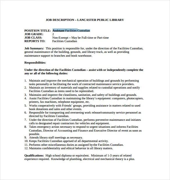 Sample Resume For Custodian Rajipeseck The Queen Of