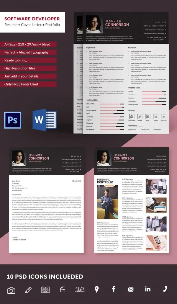 Creative Resume Template   79  Free Samples  Examples  Format     Software Developer Resume Template