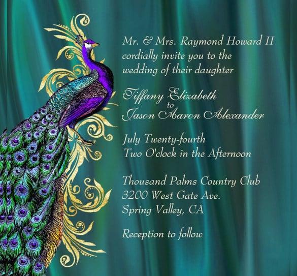 13 Peacock Wedding Invitations PSD JPG Indesign Free