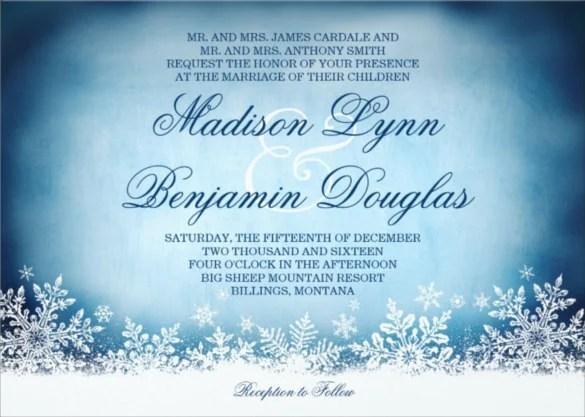 Winter Snowflakes Blue Holiday Wedding Invitation