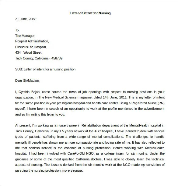Sample Letter Of Intent For Internal Job - Cover Letter Sample