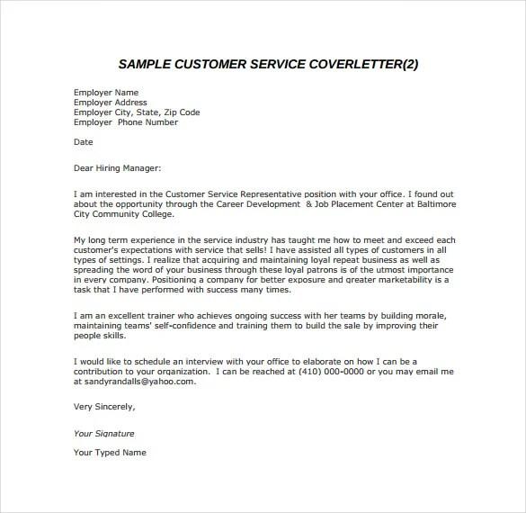 Cover Letter Customer Service Advisor Bank ] - cover letter ...