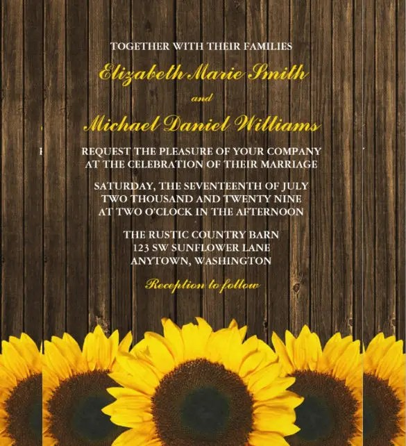 22 Sunflower Wedding Invitation Templates PSD AI Word InDesign Pages Free Premium