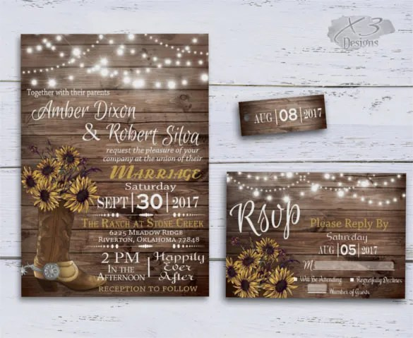 Cowboy Boot And String Lights Sunflowers Wedding Invitation Template