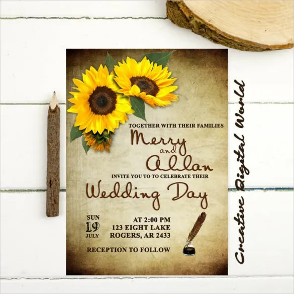 22 Sunflower Wedding Invitation Templates PSD AI Word InDesign Pages Free Amp Premium