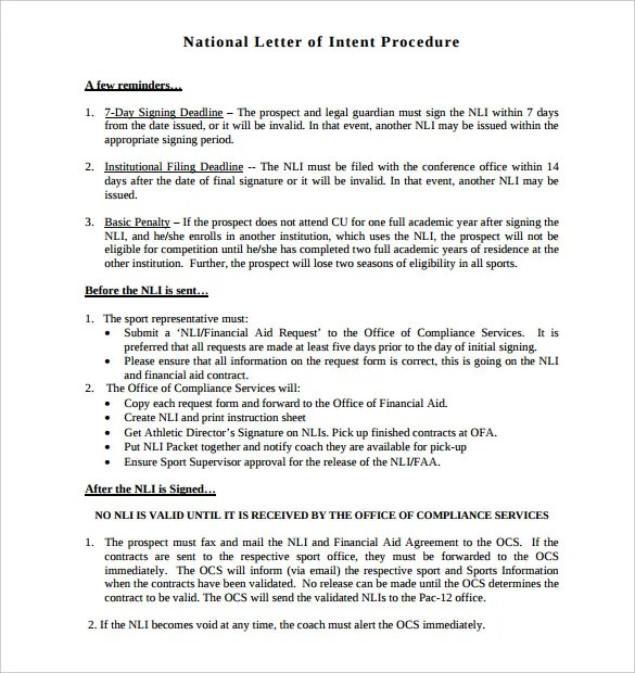 National Letter Of Intent 9 Free Word PDF Format Download Free Amp Premium Templates