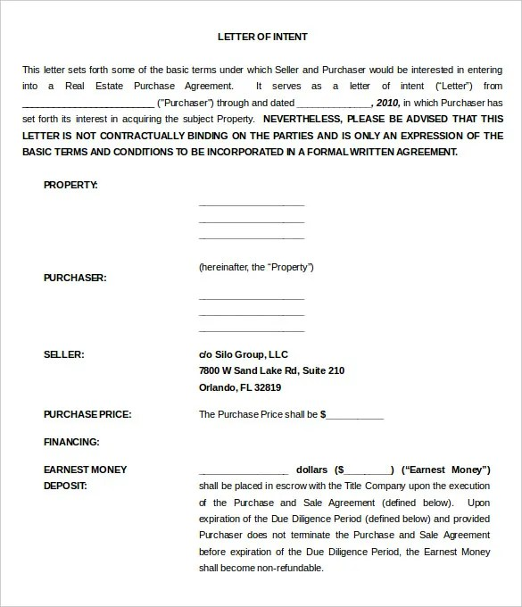 11 Real Estate Letter Of Intent Templates PDF DOC Free Premium Templates