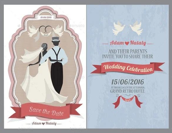 Vector Vintage Wedding Invitation Card Design Template Free