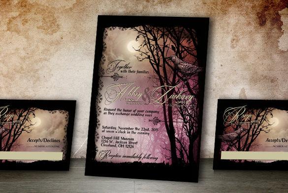 halloween wedding invitation 19 psd