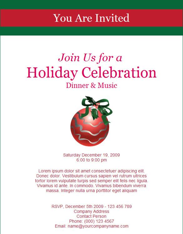 Printable Invitations Christmas