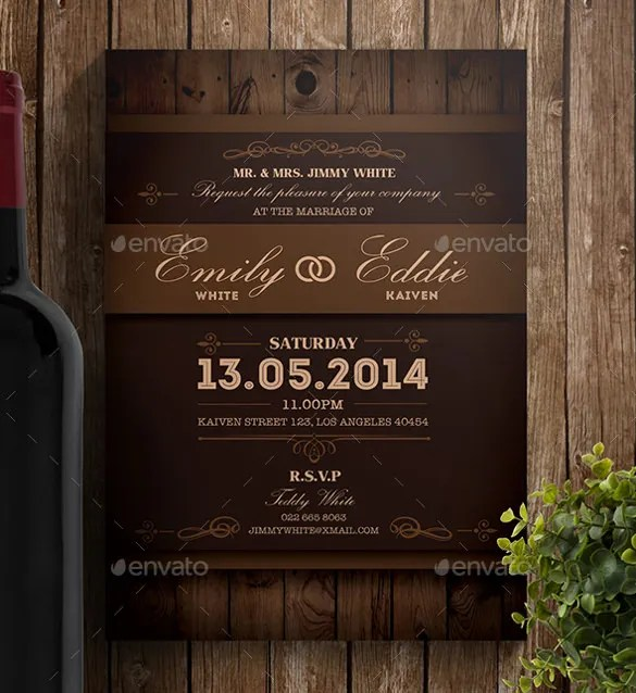 Rustic Wedding Invitation Psd Format Template