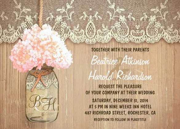 Rustic Country Mason Jar Pink Hydrangea Wedding Invitation