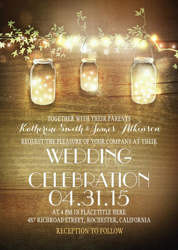 Rustic Mason Jars And Lights Wedding Invitation Template