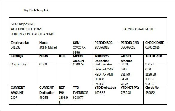 28 Pay Stub Templates Samples Examples Formats