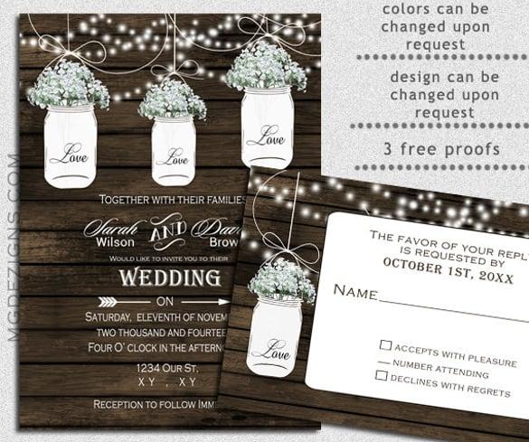 Barn Wood Strings Of Lights Wedding Invitation