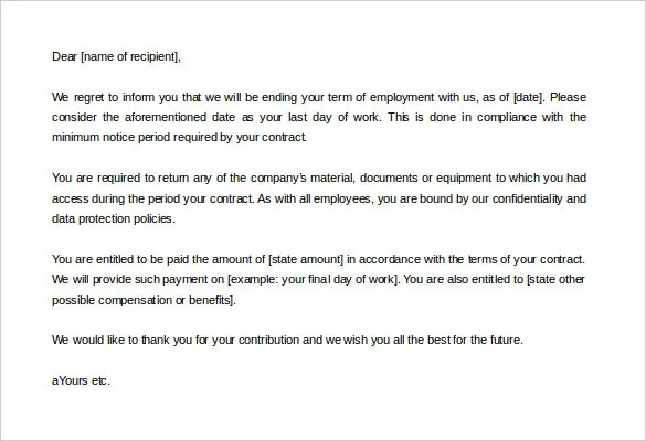 Employment Termination Letters Sample Employee Termination Letter – Layoff Notice Template