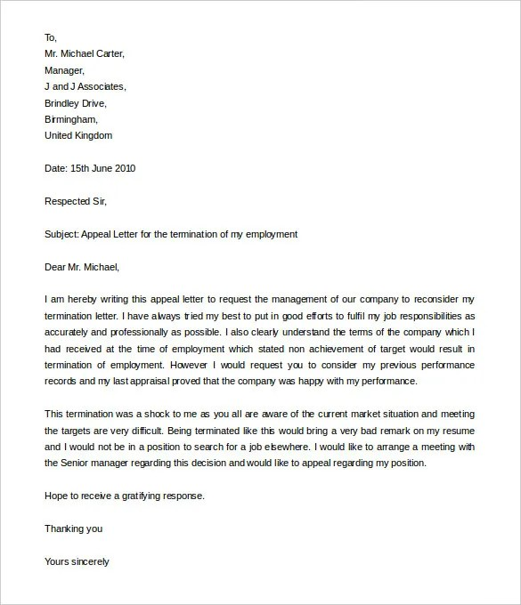 15 job termination letter templates free sample example format - Sample Letter Of Appeal For Reconsideration